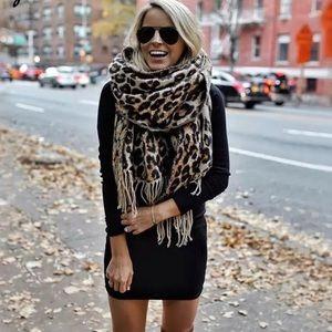 Animal Print Leopard Cashmere Blanket Scarf